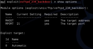 metasploit-vsftp-showoptions